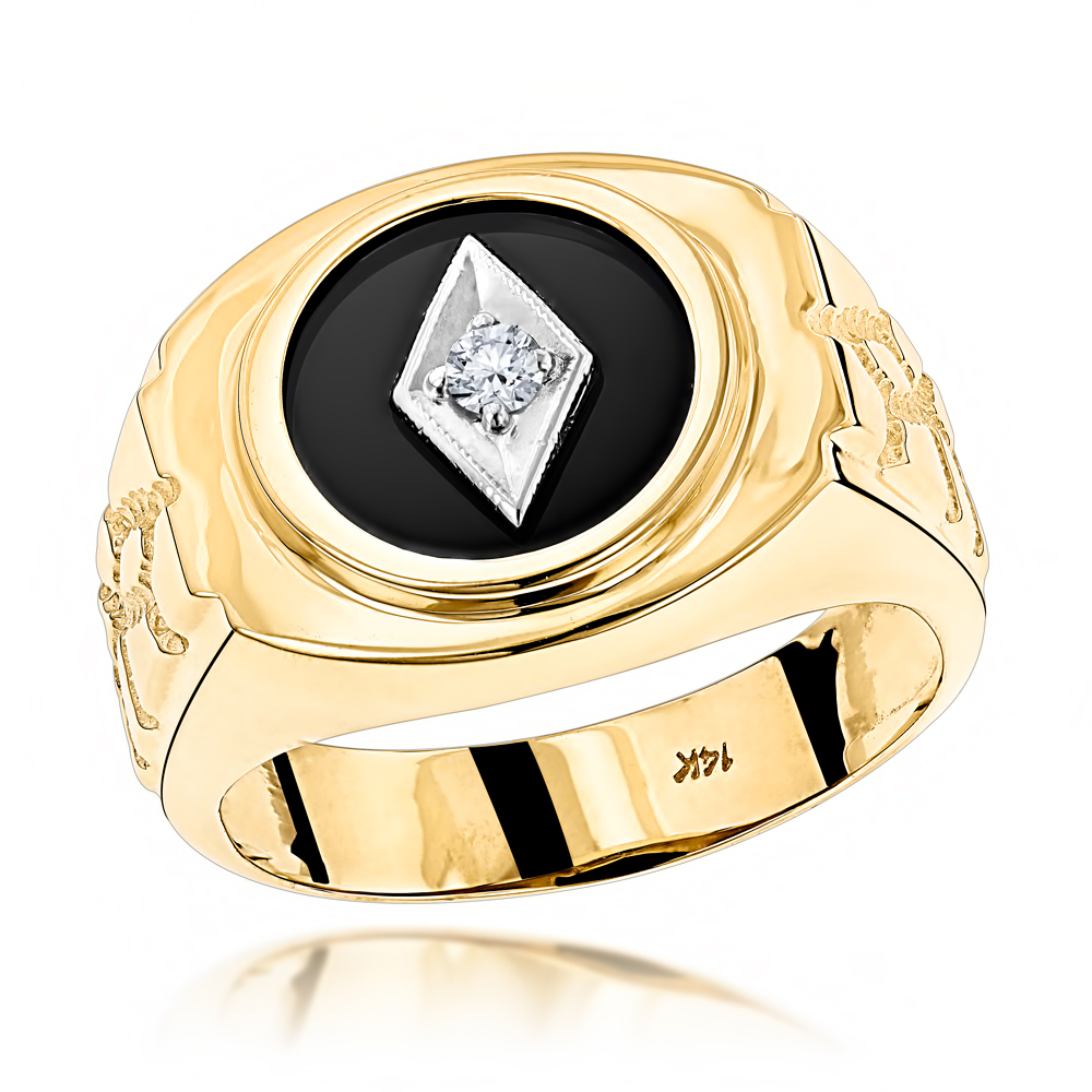 Black Onyx And Diamond Rings 14k Gold Mens Ring 0 10ct