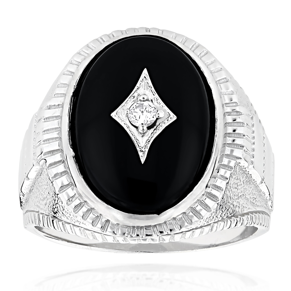 Black Onyx and Diamond Rings 14K Gold Mens Ring 0.10ct 13/16 in (20mm) White Image
