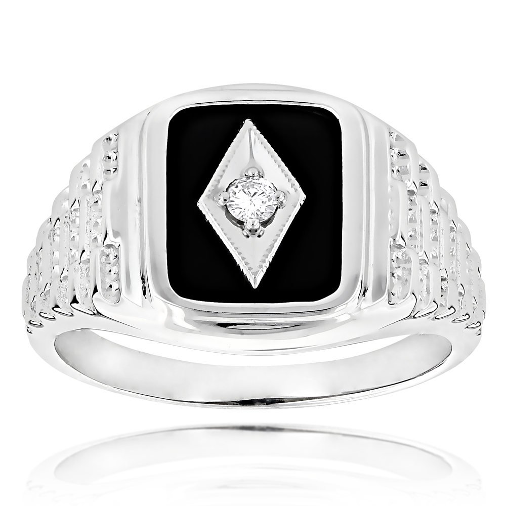 Black Onyx and Diamond Rings 14K Gold Mens Ring 0.10ct White Image