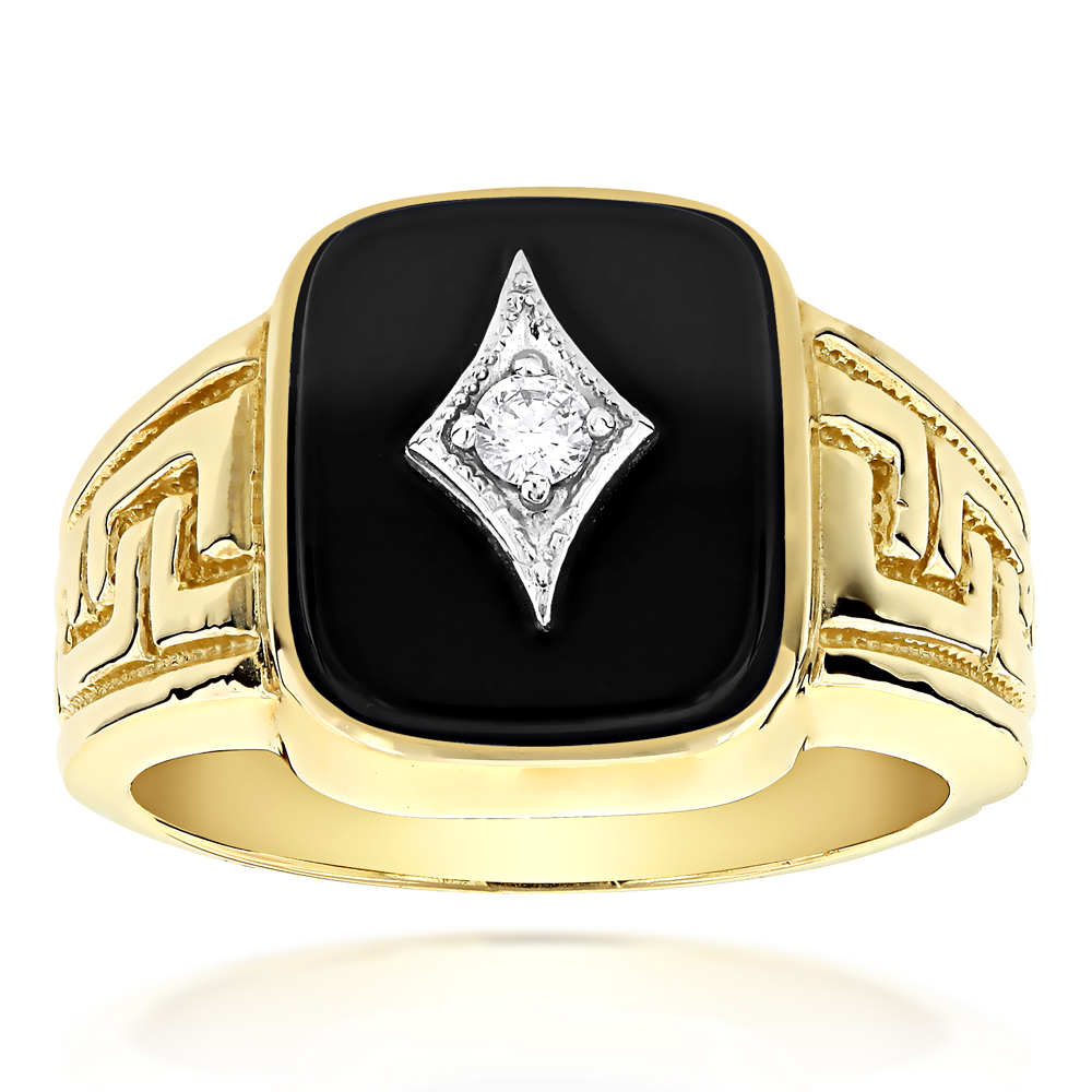 Black Onyx and Diamond Rings 14K Gold Mens Ring 0.10ct Yellow Image