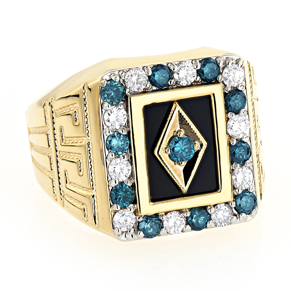Black Onyx and Diamond Rings 14K Gold Mens White Blue Diamond Ring 1.68ct Yellow Image