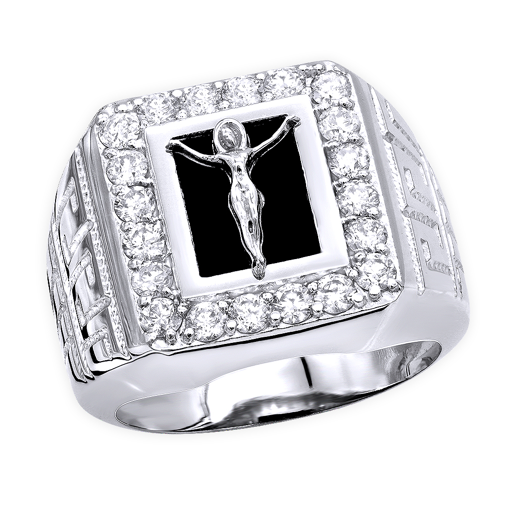 Black Onyx Diamond Rings 14K Gold Crucifix Ring 1.50ct White Image