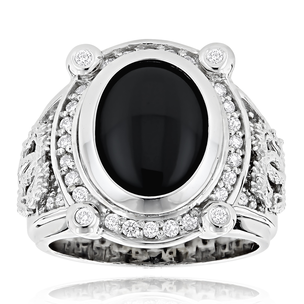 Black Onyx Rings 14K Gold Diamond Onyx Ring .65ct White Image