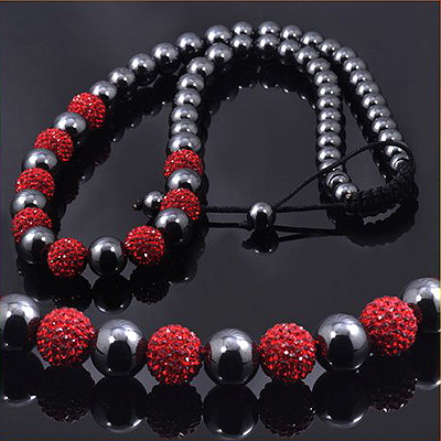 Black Red Crystals Beaded Disco Ball Necklace