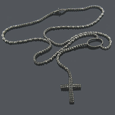 Black Rhodium 10K Black Diamond Rosary Chain Necklace Main Image