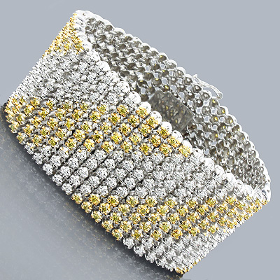 Bling Bling Jewelry White Yellow Diamond Bracelet 16.02 Main Image