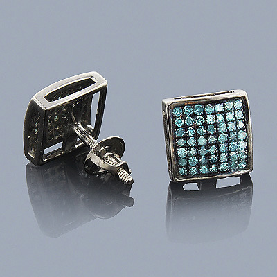 Blue Diamond Earrings 0.75ct Sterling Silver Main Image