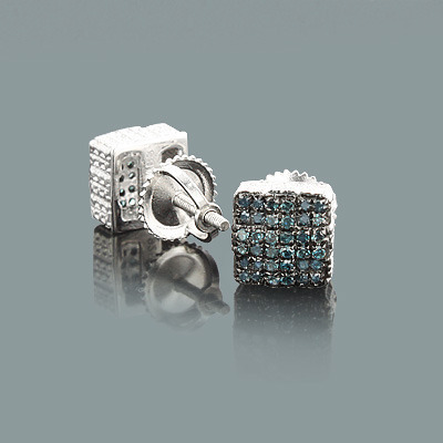 Blue Diamond Stud Earrings 0.35ct Sterling Silver