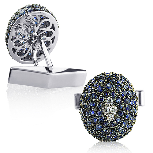 Blue Sapphire and Diamond Cufflinks for Men 14K Gold blue-sapphire-and-diamond-cufflinks-for-men-14k-gold_1
