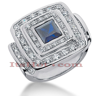 Blue Sapphire Cocktail Ring with Diamonds 14K 0.90ctd 1.25cts Main Image