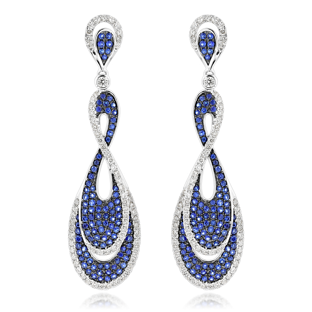 Blue Sapphire Diamond Ladies Infinity Earrings by Luxurman 4ct 14K Gold White Image