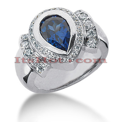 Blue Sapphire Engagement Ring with Diamonds 0.59ctd 2cts 14K Main Image