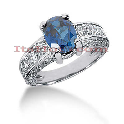 Blue Sapphire Engagement Ring with Diamonds 1.37ctd 2cts 14K