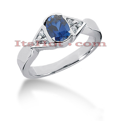 Blue Sapphire Engagement Ring with Diamonds 14K 0.12ctd 0.75cts Main Image