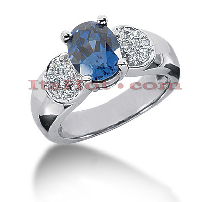Blue Sapphire Engagement Ring with Diamonds 14K 0.21ctd 2cts Main Image