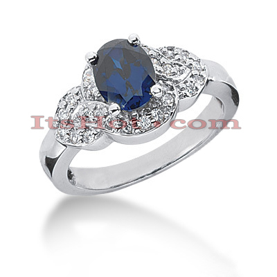 Blue Sapphire Engagement Ring with Diamonds 14K 0.26ctd 1.25cts Main Image