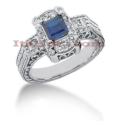 Thin Blue Sapphire Engagement Ring with Diamonds 14K 0.37ctd 0.75cts Main Image