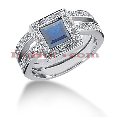 Blue Sapphire Engagement Ring with Diamonds 14K 0.52ctd 1.25cts Main Image
