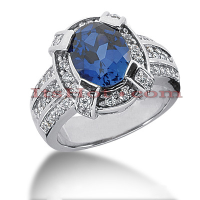 Blue Sapphire Engagement Ring with Diamonds 14K 0.72ctd 3cts Main Image