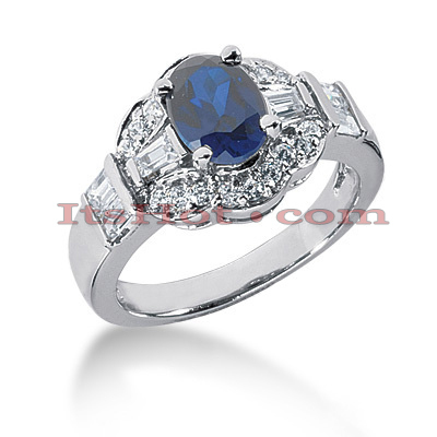 Blue Sapphire Engagement Rings: 14K Gold Diamond Ring 0.77ctd 1.25cts Main Image