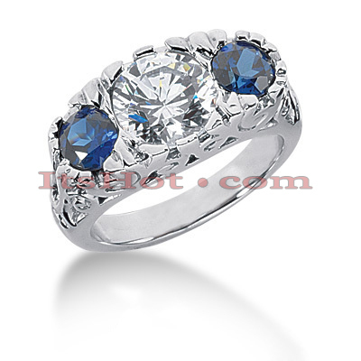 Blue Sapphire Rings: Ladies Diamond 3 Stone Ring 14K 1.00ctd 1.00cts Main Image