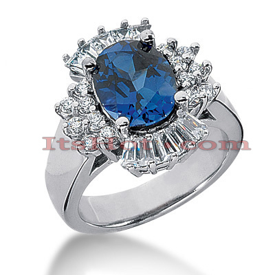 Blue Sapphire Rings: Ladies Gemstone Diamond Ring 14K 1.05ctd 3cts