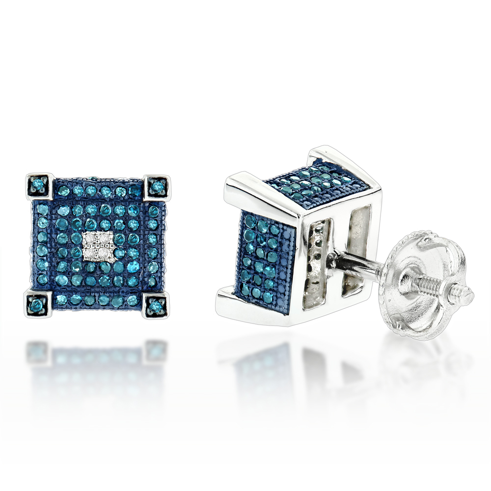 Blue White Diamond Earrings Studs 0.61ct Sterling Silver Main Image