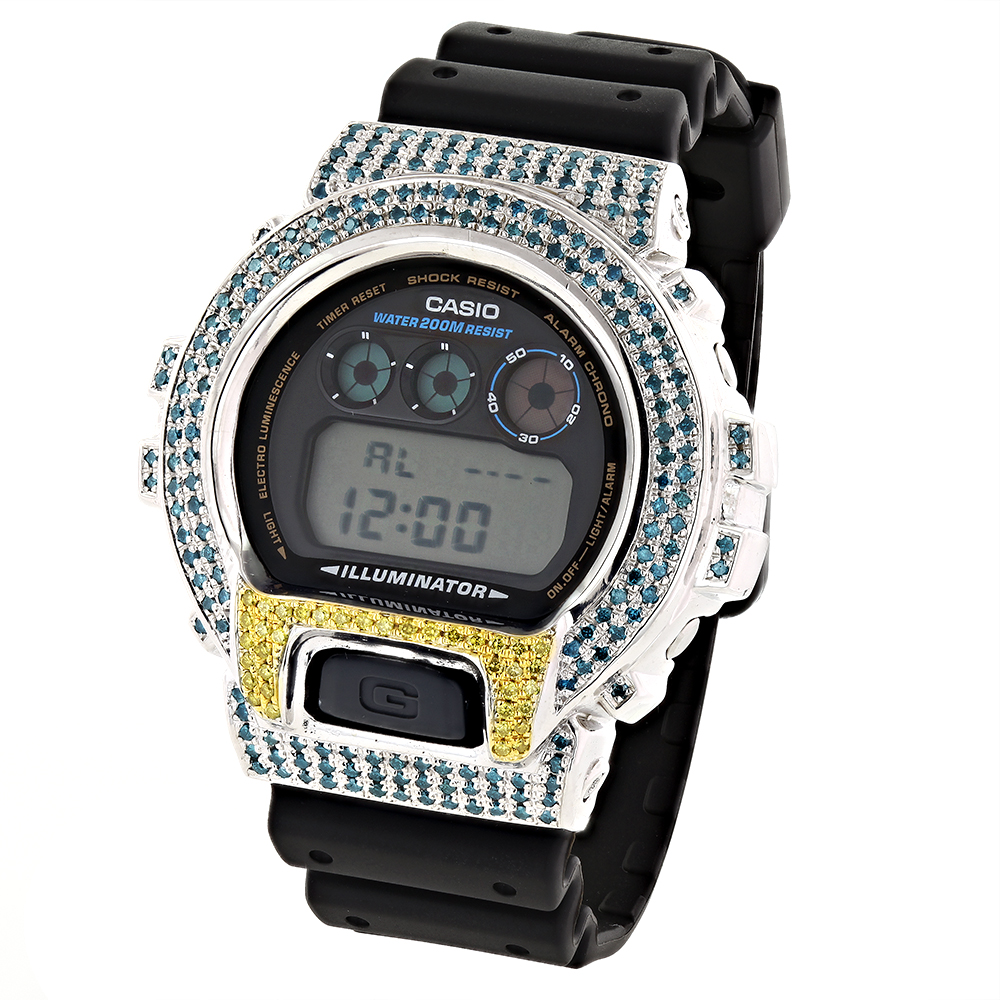 Blue Yellow Diamond G-Shock Watch 4.00ct Main Image