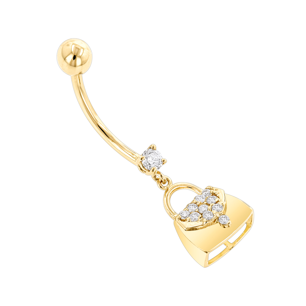 Body Jewelry: 14K Gold Diamond Purse Belly Button Ring 0.29 Yellow Image