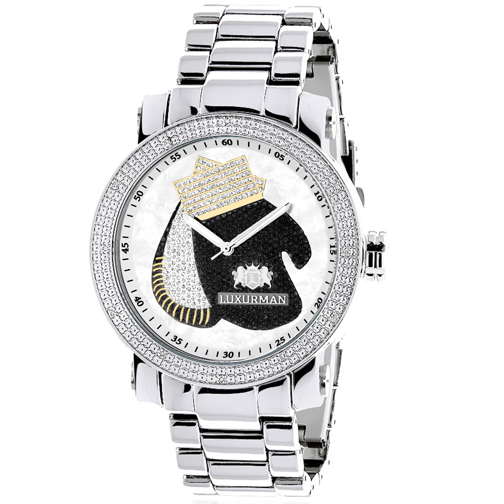 Boxing Gloves Diamond Watch for Men by Luxurman Southpaw Limited Edition Main Image