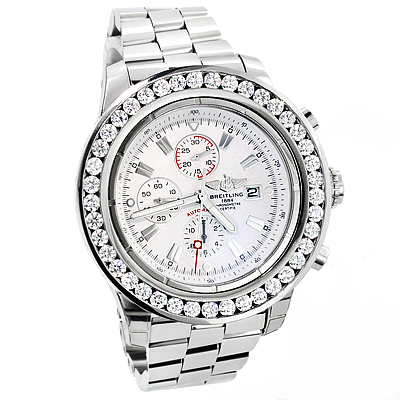 Breitling  Super Avenger 7 Carat Diamond Bezel Watch Custom  Breitling  Super Avenger 7 Carat Diamond Bezel Watch Custom