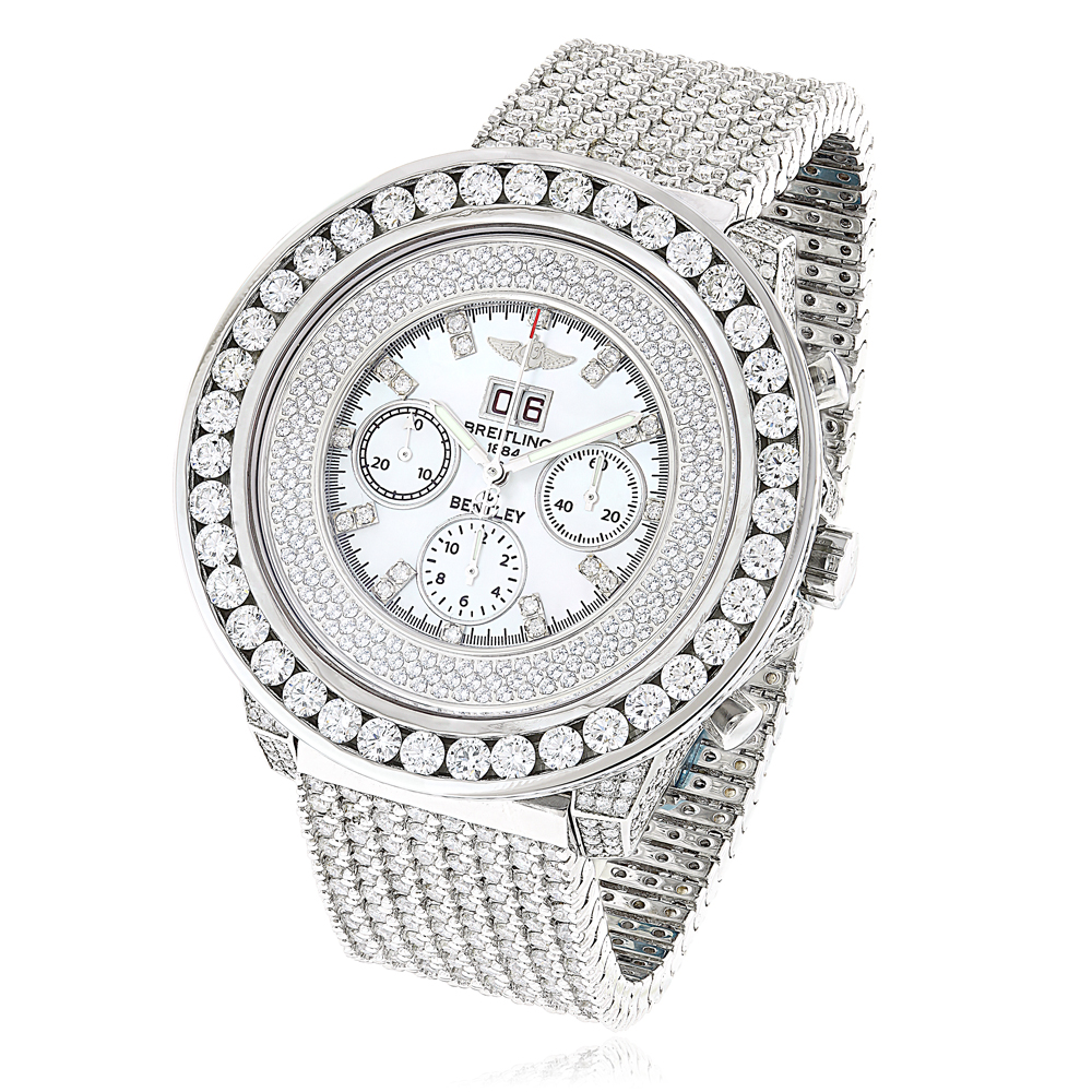 Bust Down Breitling Bentley 1884 Mens Diamond Gold Watch 42.45ct White MOP Main Image