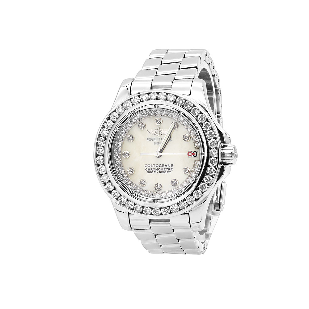 Breitling Colt Ladies Custom Diamond Watch 2.50ct Main Image