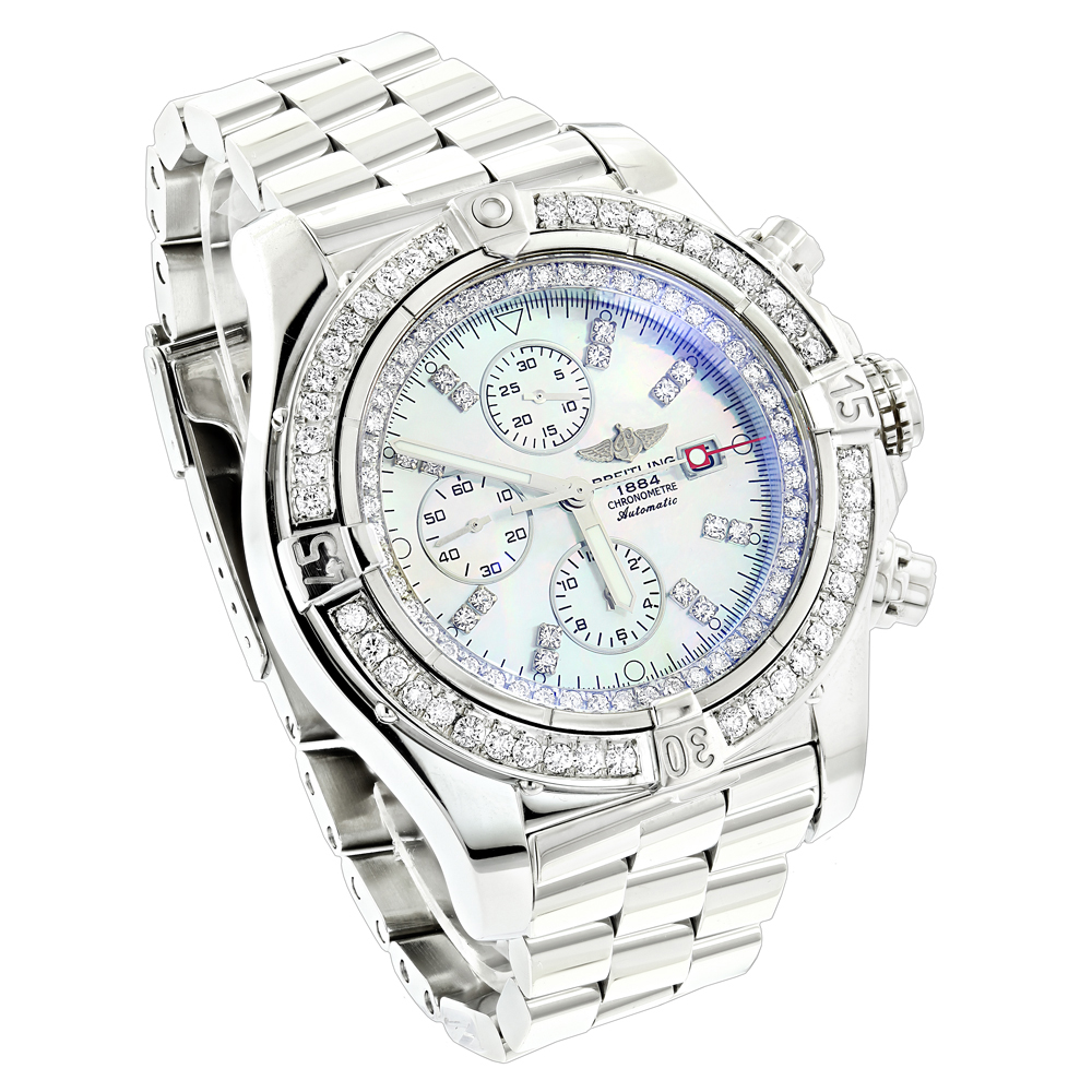 Custom Breitling Super Avenger Mens Diamond Watch 6.50ct  Main Image
