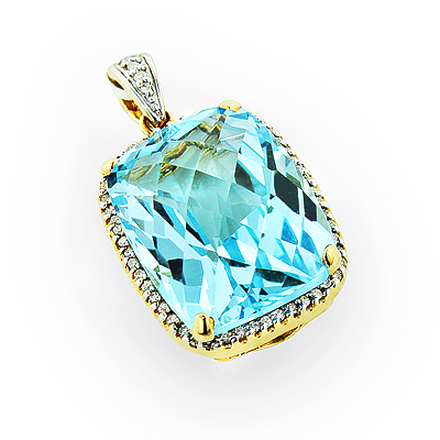 Brilliant Blue Topaz Gemstone Pendant with Diamonds 14K Gold Main Image