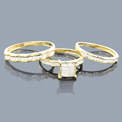 Brown Diamond Ring Set Trio 14K 1.04ct Main Image