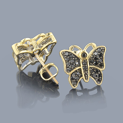 Butterfly Jewelry: 10K Black Diamond Earrings 0.50