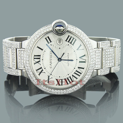 Custom Cartier Ballon Diamond Watch for Men 14.37ct   Main Image