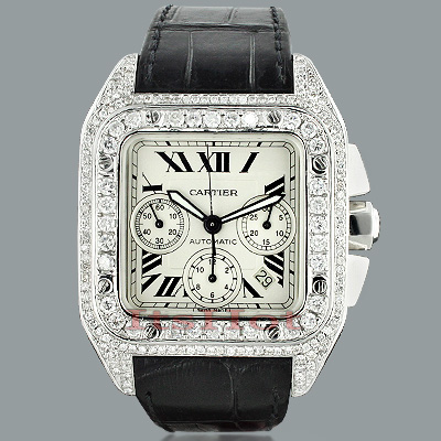 Cartier Santos 100 Mens Custom Diamond Watch 13ct Main Image