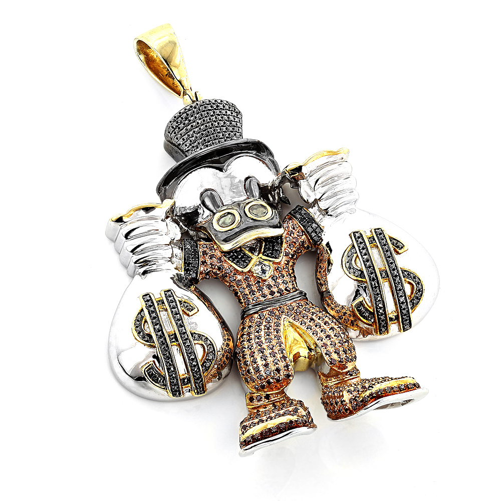 Cartoon Characters Scrooge McDuck Diamond Pendant in Sterling Silver 4.25ct