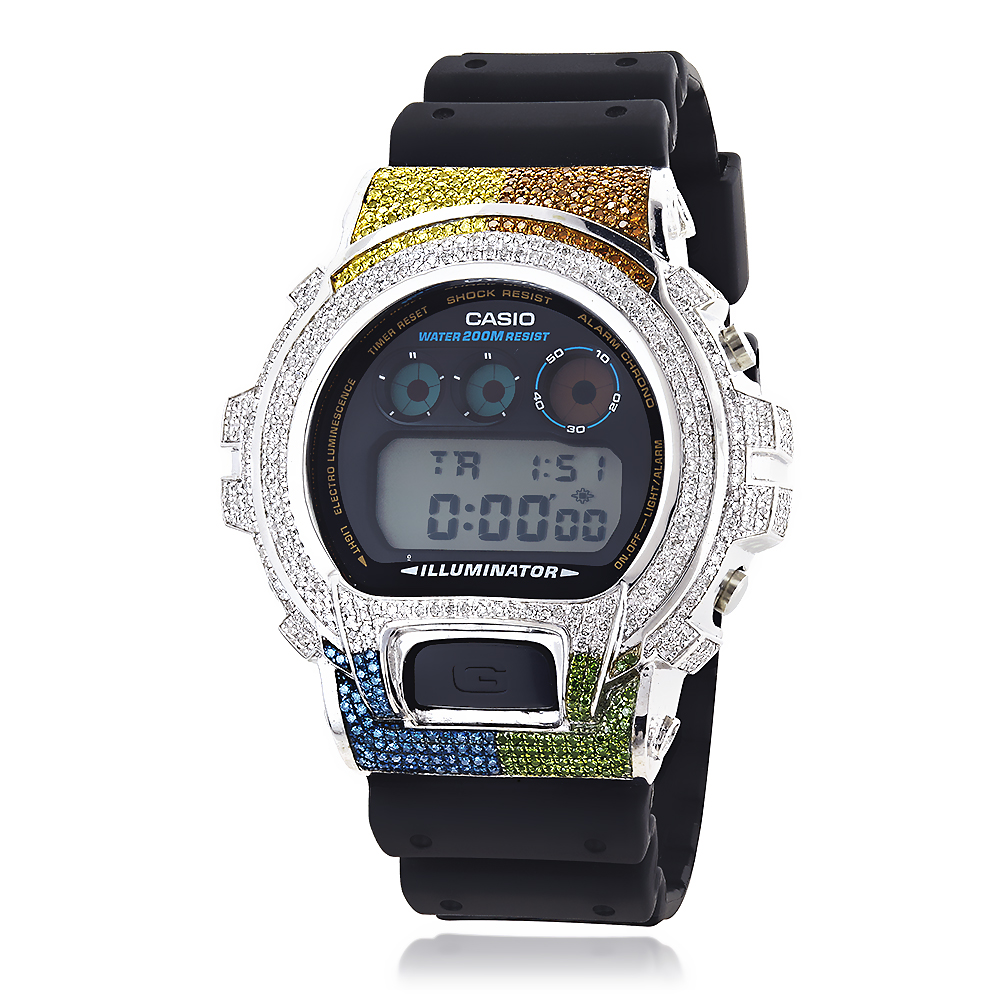 Casio 6900 G-SHOCK White Blue Green Brown Yellow Diamonds Bezel Watch 5ct