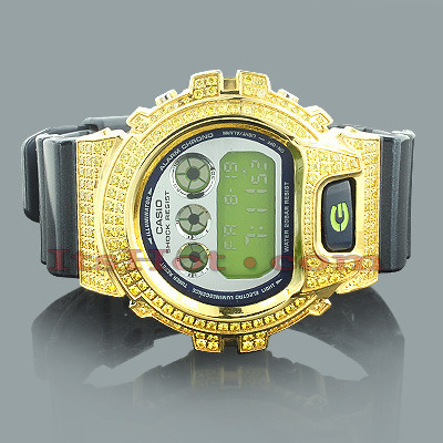 Casio Watches: Yellow GShock Watch with Crystals Casio Watches: Yellow GShock Watch with Crystals