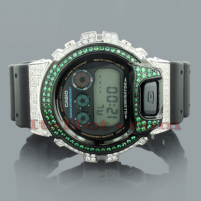 Casio White Green G-Shock Watch with Crystals Casio White Green G-Shock Watch with Crystals