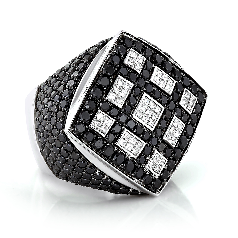 Celebrity 14K Gold White Black Diamond Mens Massive Ring 8.65ct