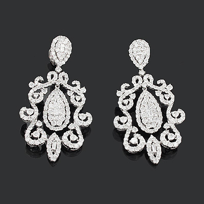 Celebrity Jewelry: Designer Diamond Earrings 7.74ct 18K Gold