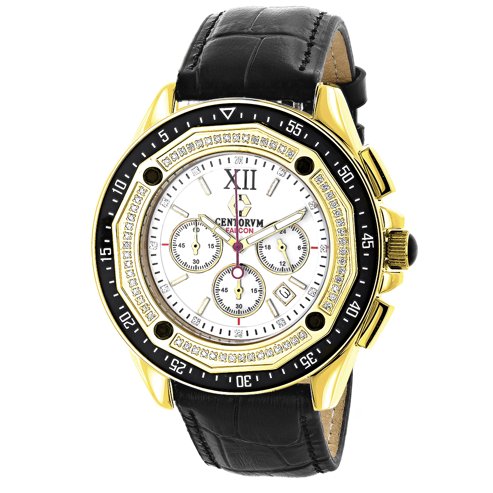 Centorum Mens Chronograph Diamond Watch 0.55ct Yellow Main Image