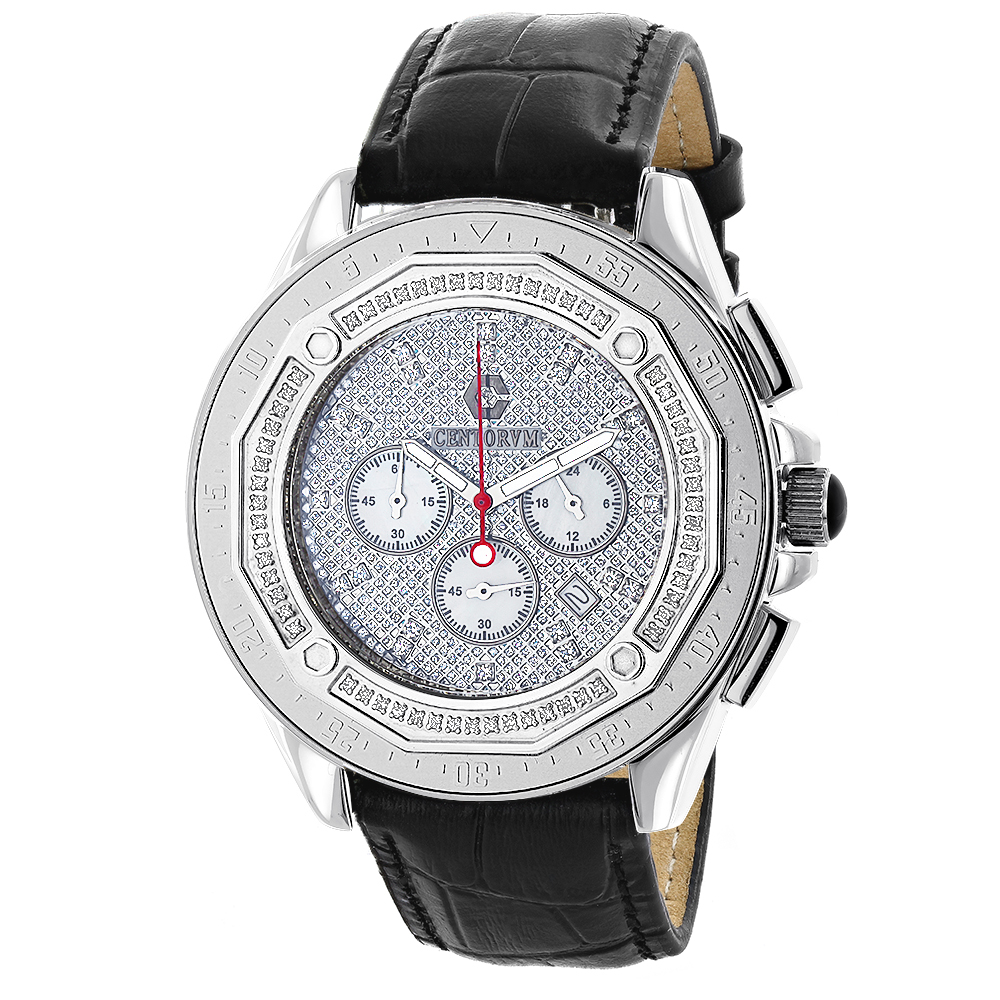 Centorum Mens Chronograph Watch with Diamonds 0.55ct
