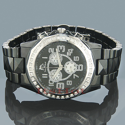 Ceramic Watches Techno Master Mens Diamond Watch 1ct