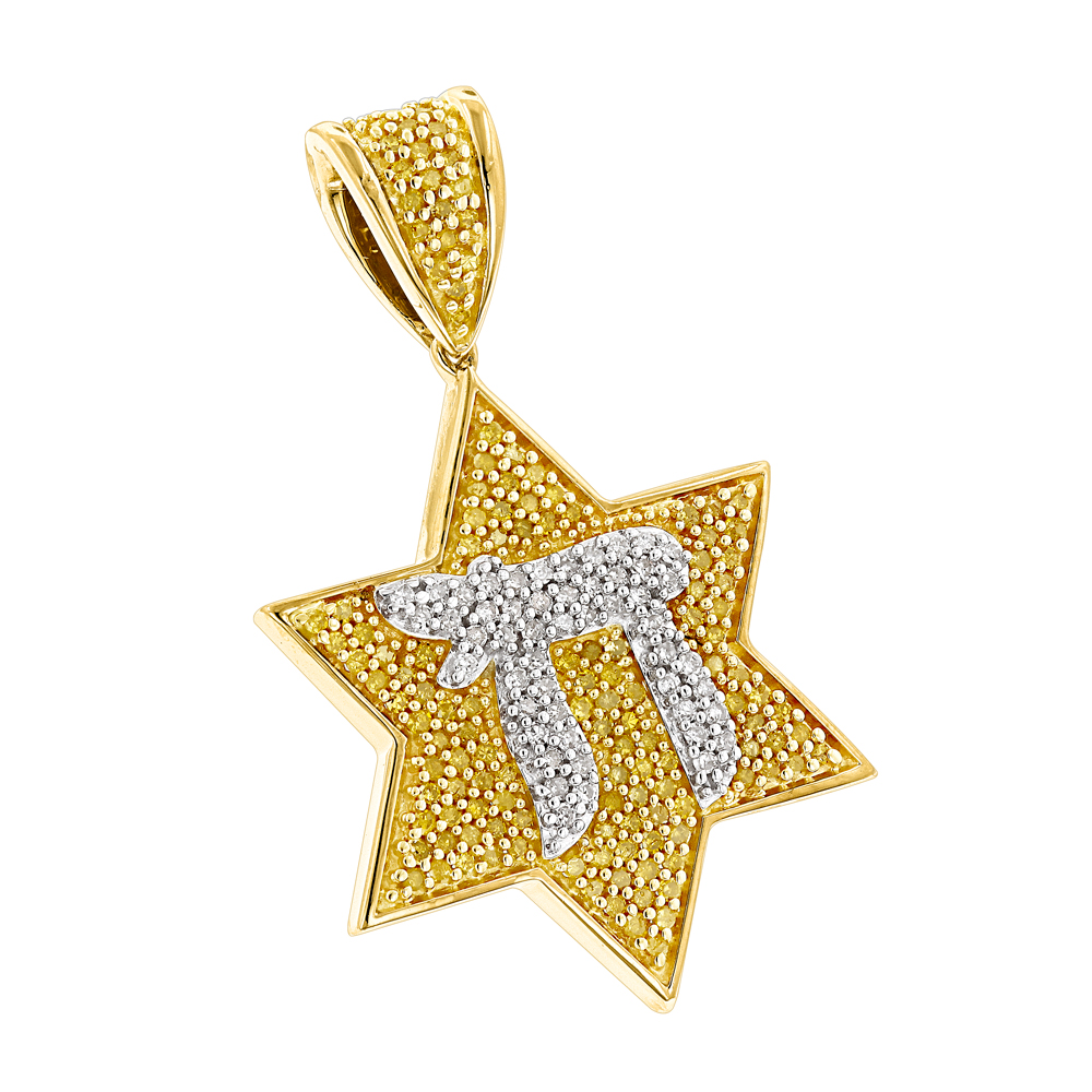 Chai Yellow Diamond Star of David Pendant 0.55ct Yellow Image