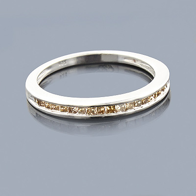 Ultra Thin Champagne Diamond Wedding Band 0.29ct Sterling Silver